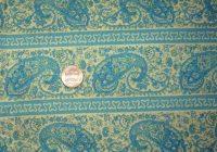 vintage cotton paisley quilt dress fabric 3 yds teal blue tan fabric 44 inches wide Unique Vintage Paisley Quilt