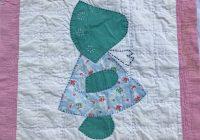 vintage sunbonnet sue quilt block quilt square for pillows or home decor cutter quilt block shab sunbonnet girl pink green blue 2 Modern Vintage Sunbonnet Sue Quilt